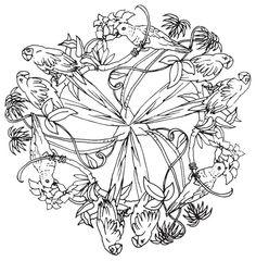 Mandala 596, Natures Kaleidoscope Coloring Book, Dover Publications