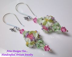 Green and Pink Floral Lampwork EarringsPink and by ariesdesignstoo