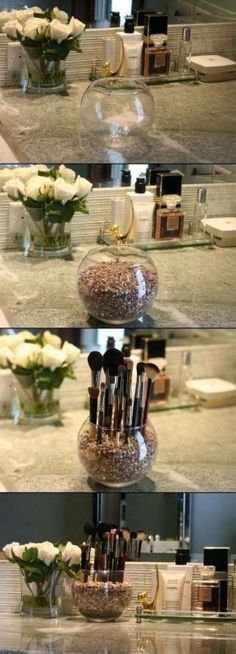 Organize makeup brushes or even paint brushes