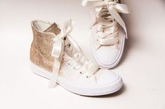 1af1060732c0 Glitter - Ombre Two Tone Champagne Gold to Ivory Converse® Hi Top Sneakers  Tennis Shoes with Satin Ribbon Laces