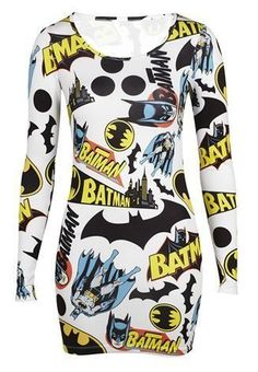 **Ladies Batman Print Logo Mini Bodycon Dress Size 8-14 RRP £12.99** | eBay