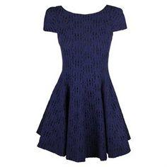 Tibi Womens Navy Blue Floral Eyelet A-Line Short Sleeve Dress. Today $363.00