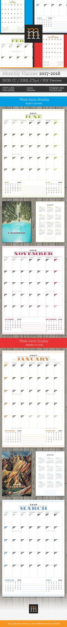monthly planner 2017 template indesign indd calendar templates pinterest. Black Bedroom Furniture Sets. Home Design Ideas