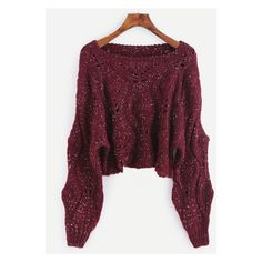 Burgundy Dropped Shoulder Seam Hollow Crop Sweater ($25) ❤ liked on Polyvore featuring tops and sweaters