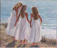 The three Graces by Susan Rios. Girls on the beach. Perfect beach wall art for your cottage decor. Sisters Art, Three Sisters, Big Sisters, Dress Painting, Beach Art, Art For Kids, Fine Art Prints, Canvas Prints, White Dress