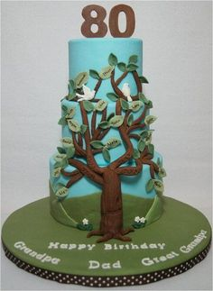 Family Tree for Dad's 80th Birthday - by whitecrafty @ CakesDecor.com - cake decorating website: