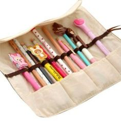 Amazon.com : SlimACC New Cute 4pcs Different Colors of Pastorable Roll Up Canvas Pen Bag Pencil Case Bag Cosmetic Makeup Bag Pouch Pocket for Girls Boys Students Women Lady : Pencil Holders : Office Products