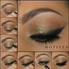 Gold, eye shadow, shimmer, glitter, black eyeliner, lipstick, motives cosmetics
