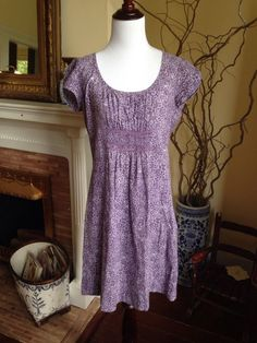 BODEN PURPLE FLORAL Womens Dress US 4 UK 8 Short Sleeve Knee Length Cotton #Boden #Sheath #Casual