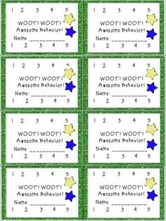 INCENTIVE PUNCH CARDS FOR HOMEWORK & BEHAVIOR - TeachersPayTeachers.com