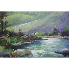 Image of Painting of a River with Green Hills & Trees