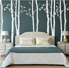 Lot de 9Sticker mural Motif arbre Bouleau Blanc Arbre Stickers Muraux Nursery Big Tree Stickers muraux pour Salon