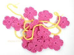 Flower Garland Crochet Bunting Pink Flower by SouLfuLLStitchin, $10.10