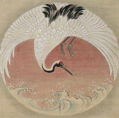 Cranes And Waves by Tsuruzawa Tansaki Morhiro (late 18th c.)