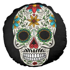 Day Dead Sugar Skull Round Pillow