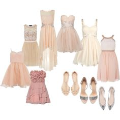 "Do you have a polyvore? Comment below and I will add you as a pinner to this quinceanera sets board! ""Mix and Match Nude Tones Dama Set"" by my-perfect-quince on Polyvore"