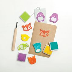 Hand-carved animal stamps