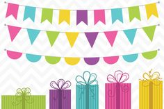 Clip Art Presents and Flag Bunting - Illustrations - 1