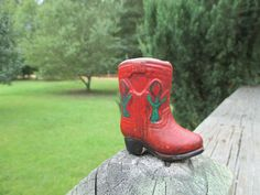 Vintage Mini Red Cowboy Boot Toothpick Holder--Made in Japan--Ceramic--Southwestern Decor--Travel Souvenir--Retro Kitschy Kitchenware by AlloftheAbove on Etsy