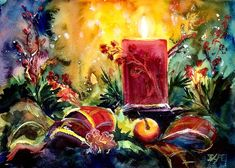 Just today and tomorrow left to register for my virtual class Painting Bright Lights and Shimmering Dark with Watercolor! I'll be teaching it on November 21 at 10 am in partnership with @watercolorhouston Registration closes Thursday November 19th. It will be a fun session! First we will talk about colors and techniques necessary to paint a festive still life similar to this one and then students will try to apply them during 1 hour painting session with me available to help and answer…