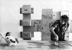 Rauschenberg working on Cardboards in his Captiva, Florida studio, 1971 - Becker's cardboard house