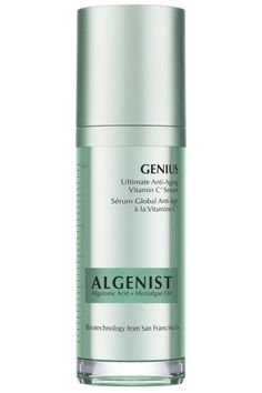 To even out skin tone and brighten a dull texture, look for products with vitamin C, the holy grail for fading brown spots. Algenist's serum is also packed with alguronic acid and micro-algae oil, which help tighten and firm skin and replenish moisture. Algenist Genius Ultimate Anti-Aging Vitamin C+ Serum, $115, algenist.com.