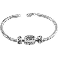 Connections From Hallmark Stainless Steel Celebrate Life Starter Bracelet 7 25 75 Or 8