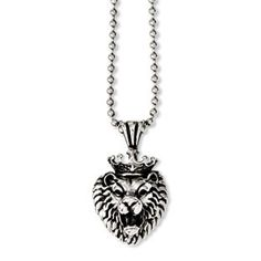 Men's Stainless Steel Antiqued Lion Pendant Necklace Men's Jewelry Available Exclusively at Gemologica.com Our complete line of mens jewelry can be found at www.gemologica.com/mens-jewelry-c-28.html