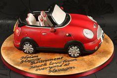 Red Mini Convertible Cake for a Groom's Cake Mini Cooper Cake, Mini Dealership, Bike Cakes, Fantasy Cake, Mini Cooper Convertible, Star Cakes, Cake Wrecks, Novelty Cakes, Cakes For Boys