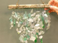 Sea-Glass Mobile - Martha Stewart Crafts by Material ** I tied mine to a grapevine wreath to hang in our bathroom.