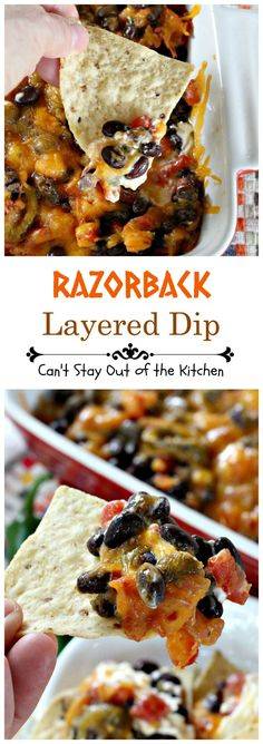 Razorback Layered Dip | Can't Stay Out of the Kitchen | this amazing #Tex-Mex #appetizer has only 4 ingredients. Quick, easy, sensational!
