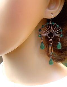 Boho Earrings - Bohemian Jewelry - Art Deco Jewellery - Statement Earrings - Green Earrings - Big Earrings - Art Nouveau earrings