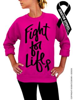 "Use coupon code ""pinterest"" Fight For Life - Breast Cancer Awareness - Pink Unisex Crew Neck Sweatshirt by DentzDenim"
