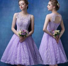 Princess Lilac Lace Homecoming Dresses,Elegant Short Prom Dresses,Cute prom dress