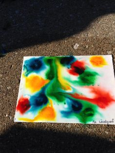 Volcano art. Paint a layer of baking soda paste on watercolor paper. Then add drops of food coloring and spray with vinegar. The picture continually changes as it bubbles and dries. Brush off baking soda when the picture is completely dry. I plan to keep experimenting w/ this project this summer!