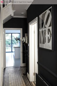 An Edwardian House Full of Quirky Art — Heart Home Black And White Hallway, Black And White Tiles, Black Walls, Black White, White Trim, Edwardian Hallway, Edwardian House, Edwardian Style, Interior Stairs