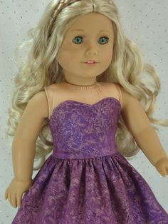 Purple party dress for american girl sized by HoschPoschCreations