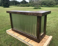 The Espresso Mini - rustic corrugated metal mini L shaped dry bar, reception desk, sales counter by BuyfooBARS on Etsy Outdoor Patio Bar, Rustic Outdoor, Rustic Barn, Rustic Style, Outdoor Decor, Bar Interior, Pallets For Sale, Indoor Bar, Shabby