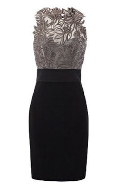Karen Millen Floral Embroidered Dress {sold out}    Mixed fabric dress with floral embroidered silk top and fitted panelled pencil skirt.