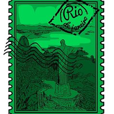 Rio de Janeiro Stamp Framed Prints, Canvas Prints, Art Prints, Cool Stickers, Art Boards, Cool T Shirts, Classic T Shirts, Laptop, Stamp