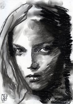 ORIGINAL Drawing charcoal one of a kind handmade by VincenzoRizzo