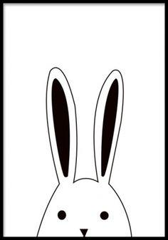 Plansch / poster med kanin, jättefin och rolig på väggen. Gulliga tavlor med djur till barnrummet. Svartvit tavla med fin illustration.