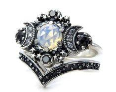 Opalite Quartz Cosmos Moon Engagement Ring Set Triple Moon Goddess Silver Ring with Stardust Chevron Wedding Band Gothic Engagement Ring, Engagement Ring Settings, Gothic Wedding Rings, Cute Jewelry, Jewelry Accessories, Unique Jewelry, Jewelry Rings, Jewlery, Yoga Jewelry