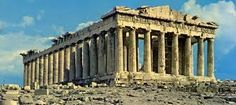 This is the famous Parthenon( Παρθενώνας), which is located in Athens.Its pillars are of Doric Style, they are very simple and they have no base, but they look really elegant and pretty. I chose this temple,as it is the most famous Ancient Greek temple and I like it very much. I admire the architectors (Ictinus and Callicrates with Phidias)that made it so simple and good-looking. It is a mainly Doric temple, but it has some Ionic architectural features as well.