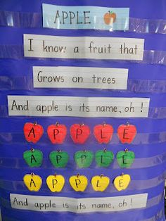 apple pocket chart - perfect September chant to go with apple theme! Preschool Apple Theme, Fall Preschool, Preschool Songs, Kindergarten Literacy, Preschool Apples, Preschool Apple Activities, Preschool Classroom, Preschool Ideas, Apple Activities Kindergarten
