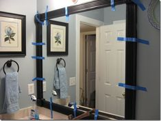 original: Frame out those boring builders mirrors with stock lightweight molding and corner blocks. I put mine up with a hot glue gun! me: this is what I plan to do with my mirror! Home Decoracion, Do It Yourself Home, Diy Frame, Diy Home Improvement, Home Projects, Home Remodeling, Diy Home Decor, Sweet Home, New Homes