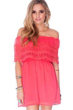Catarina Off Shoulder Dress in Coral :: tobi