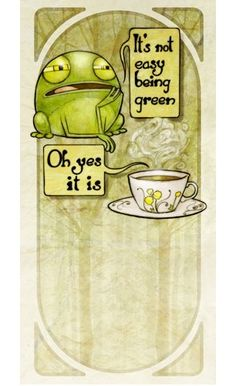 Barry's Tea by Brian Coldrick. This is an illustration done for a Barry's Tea spot advertising green tea. It features a wonderfully dour frog debating the pros and cons of being green with a cup of green tea.