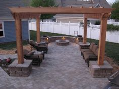 covered wood arbor with firepit - Google Search