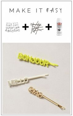 DIY Alphabet Bead Bobby Pin Tutorial from Fall for DIY. I like these metal bead letters so much better than the fragile homemade looking alphabet pasta bobby pins I've been seeing on lots of DIY sites. For pages more of DIY hair jewelry go here: bobby pins and hair combs, headbands and headpieces.
